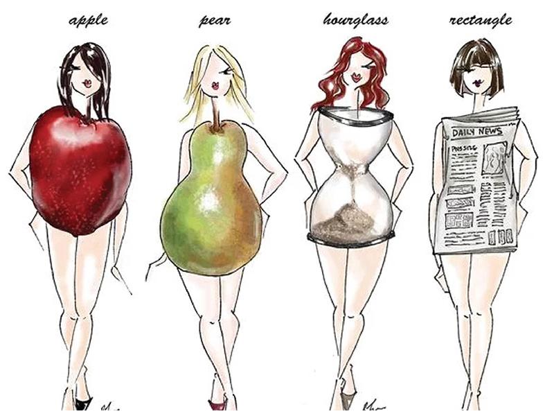 انواع تیپ بدنی استایل بدنی سوماتوتایپ بر اساس شکل سیبی گلابی مستطیل ساعت شنی