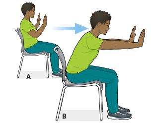 ورزش شانه در محل کار روی صندلی