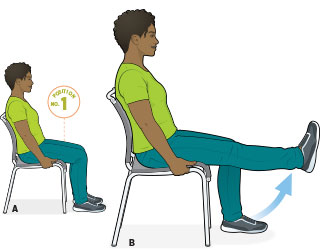 ورزش زانو در محل کار روی صندلی
